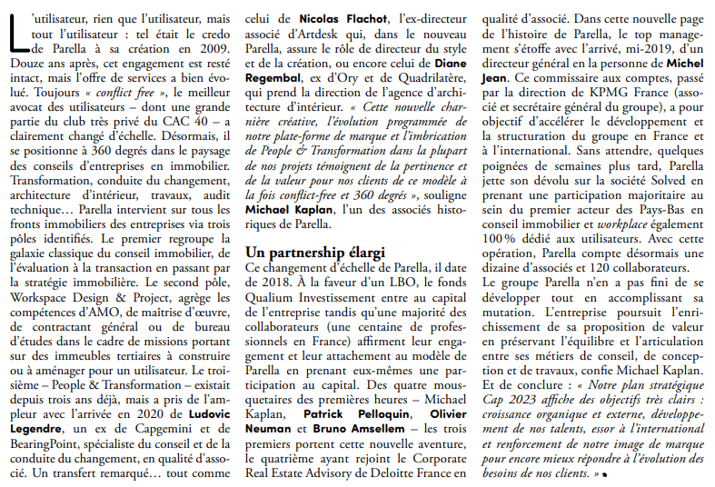 Texte article Parella_Business immo_Mars 2021